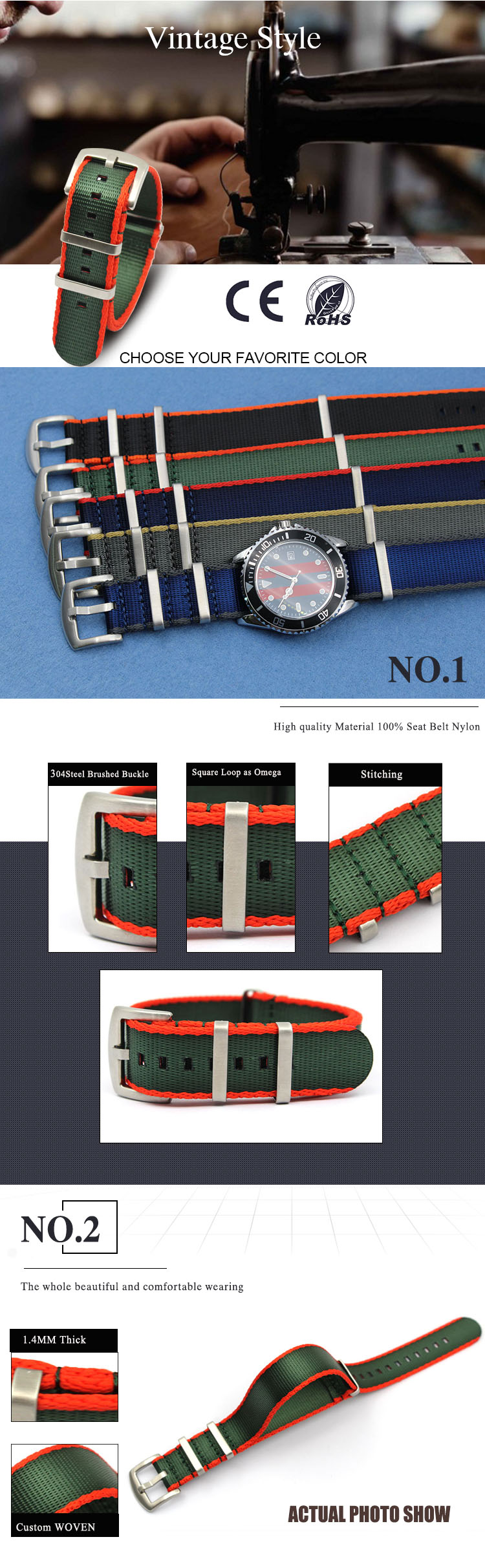Nylon replacement watch straps Nato