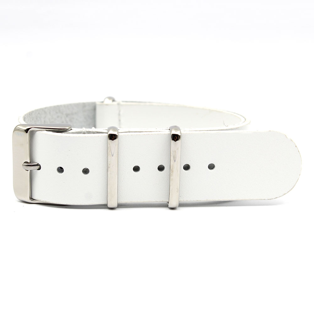 White Nato Strap 20mm leather