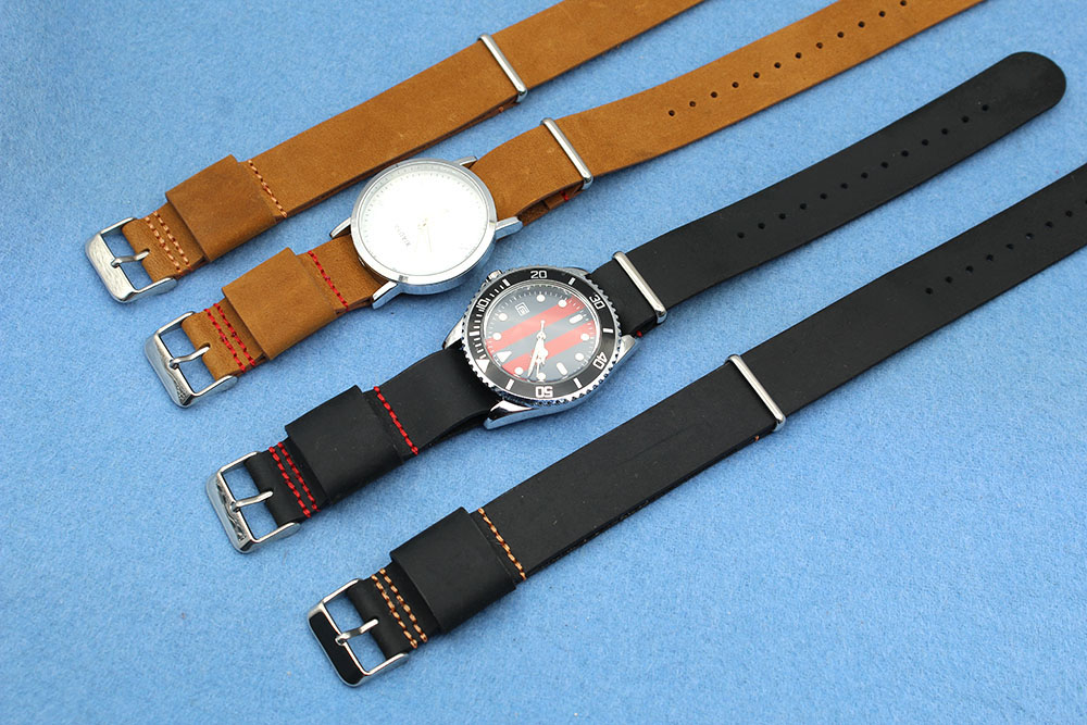 22mm Vintage watch bands brown leather silver hardware