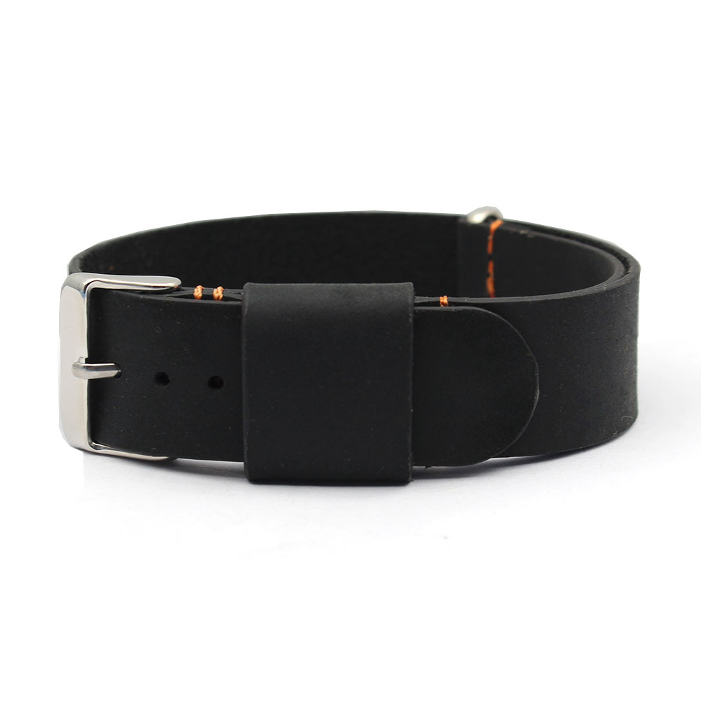 mens leather watch bands black leather siliver buckle
