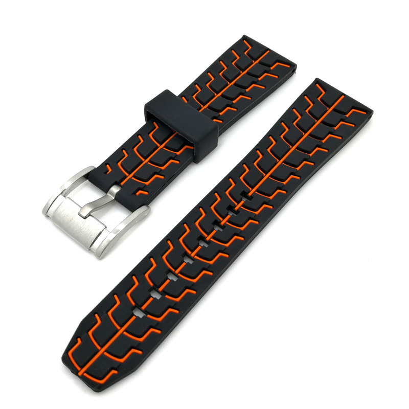 black orange silicone watch strap rubber high quality buckle