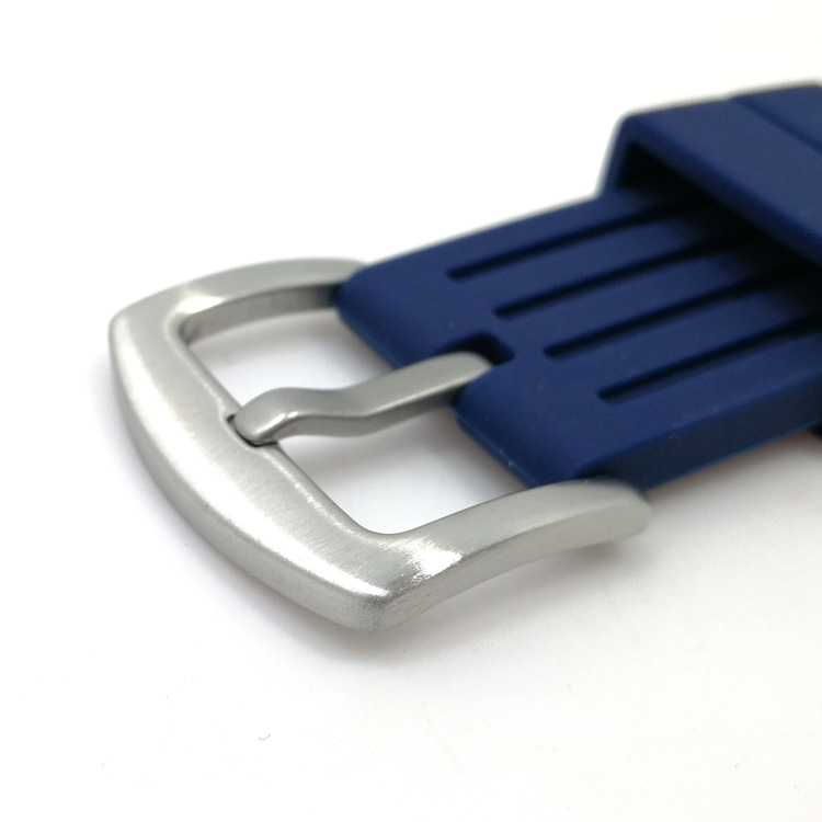 blue rubber straps with brushed buckle
