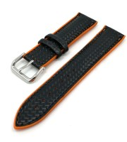 microfiber rubber sport watch bands 20mm black orange