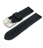 black blue stitched rubber band for watches brushed buckle military