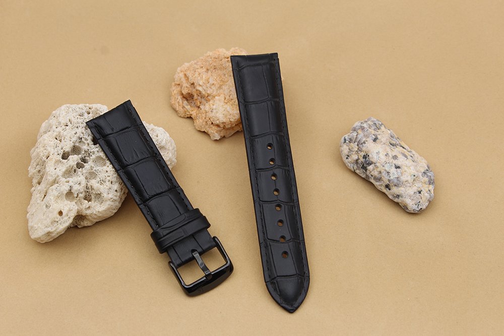 black crocodile watch strap real leather black buckle