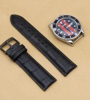 high quality real crocodile watch strap pvd black