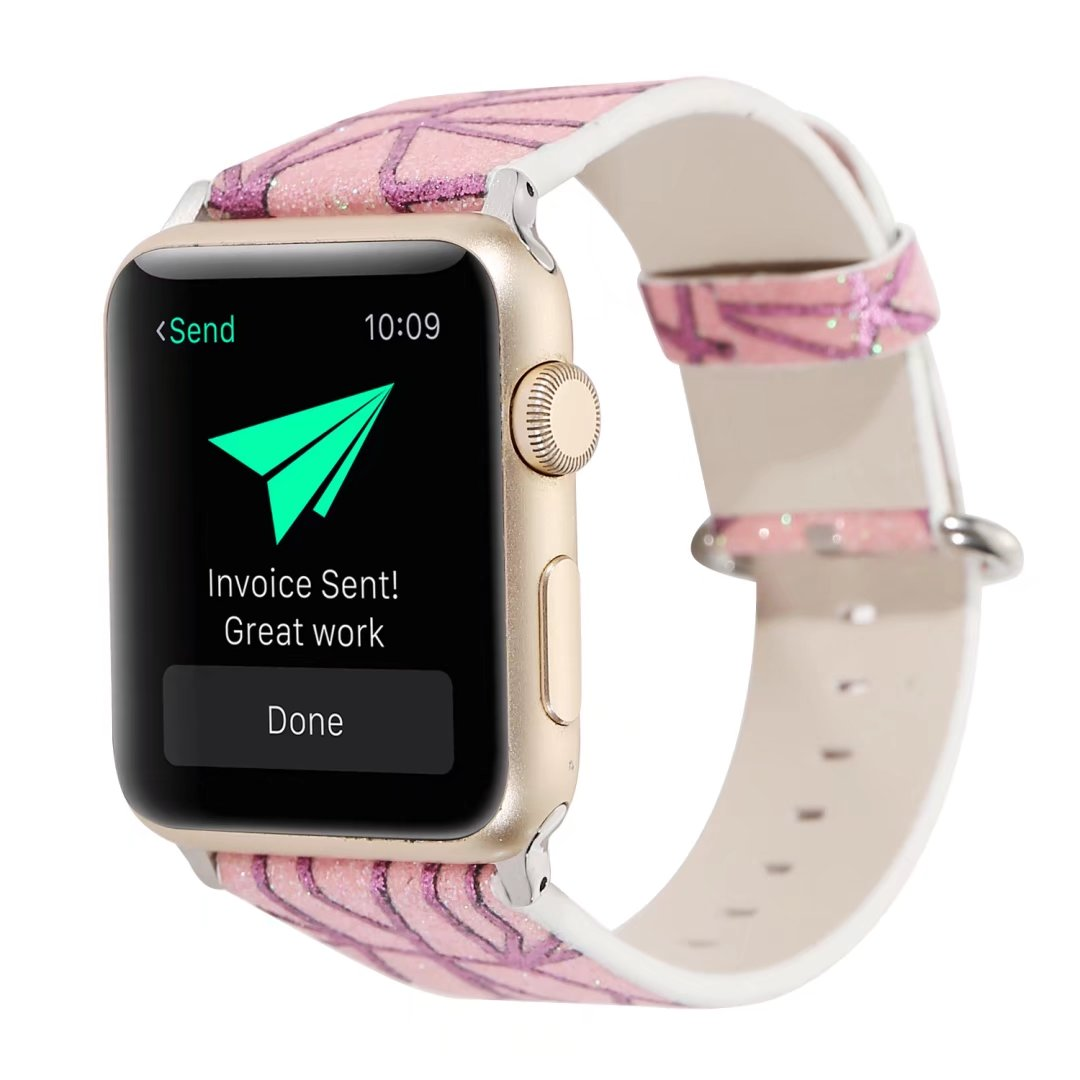 glitter watch strap pink leather apple watch 44mm
