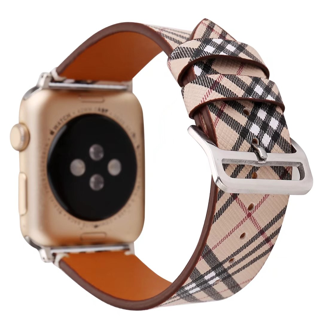 plaid apple watch band leather 24mm