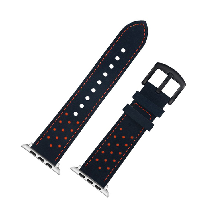 blue leather watch strap pvd black brushed