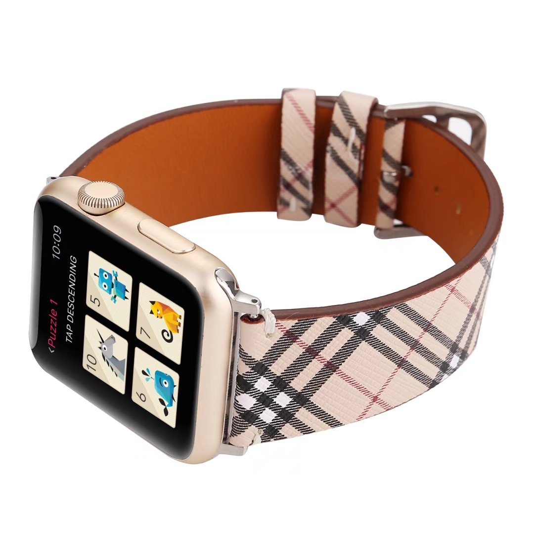 plaid apple watch band leather china factory 42mm