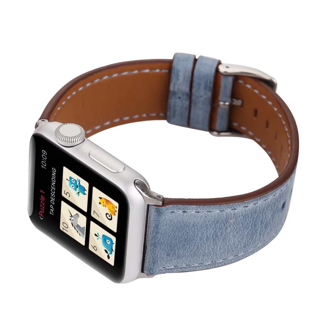 apple watch band blue genuine leather 20mm