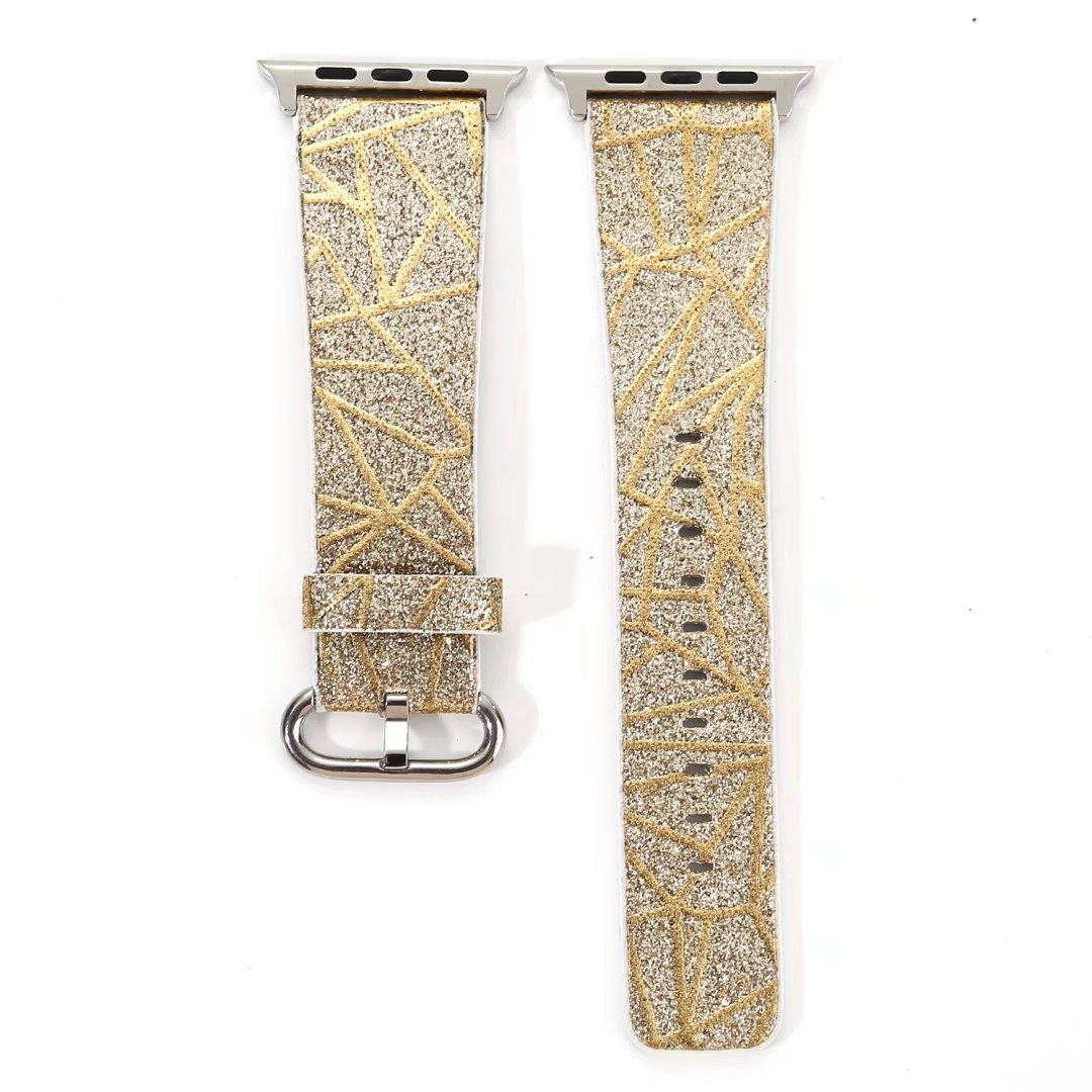 glitter watch band gold genuine leather apple watch 38mm