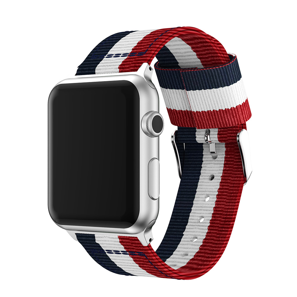 apple nylon watch strap blue white red 42mm