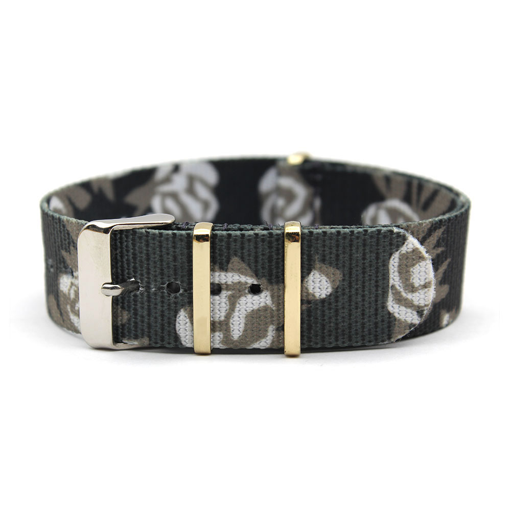 women watch bands rose printed nato strap