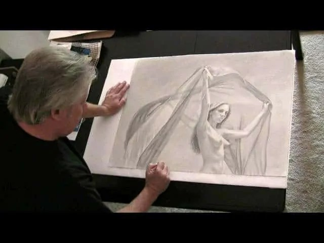 Catching Wind - pencil drawing featuring Lynsey by A.D. Cook