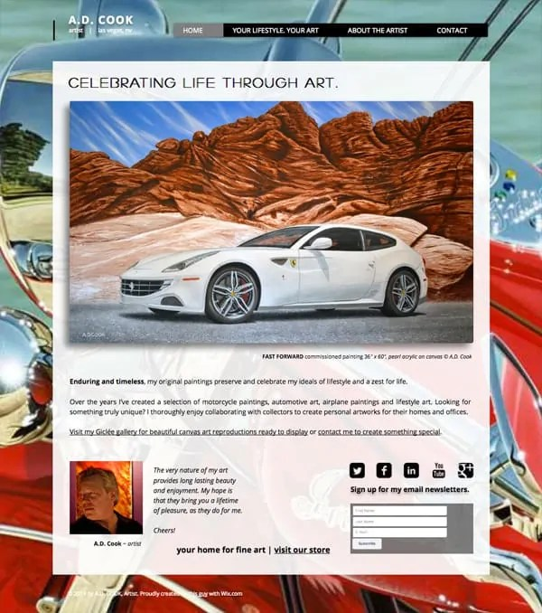 Celebrating life through art. A.D. Cook Lifestyle Art - motorcycle paintings, automotive art, airplane paintings