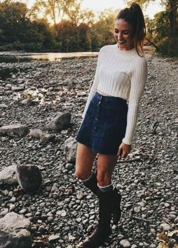 Adorable Winter Outfits Ideas Boots Skirts17