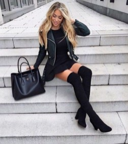 Adorable Winter Outfits Ideas Boots Skirts23