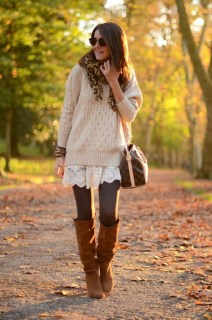Adorable Winter Outfits Ideas Boots Skirts32