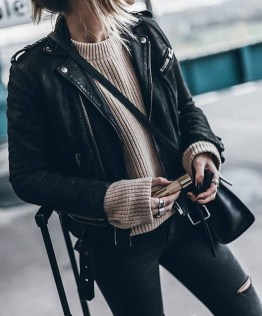 Pretty Winter Outfits Ideas Black Leather Jacket20