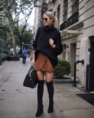 Stunning Winter Outfits Ideas With Skirts17