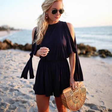 Adorable Black Romper Outfit Ideas48