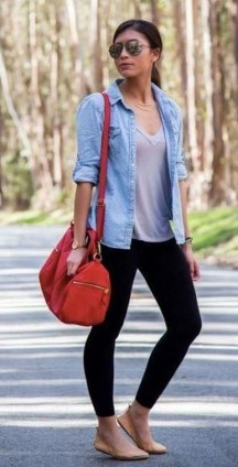 Fancy Work Outfits Ideas With Black Leggings To Copy Right Now07