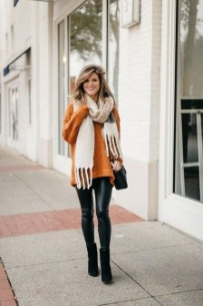 Fancy Work Outfits Ideas With Black Leggings To Copy Right Now20