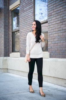 Fancy Work Outfits Ideas With Black Leggings To Copy Right Now23