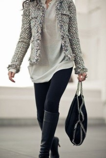 Fancy Work Outfits Ideas With Black Leggings To Copy Right Now34