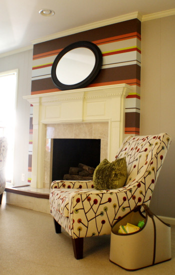 Bold Horizontal Striped Fireplace