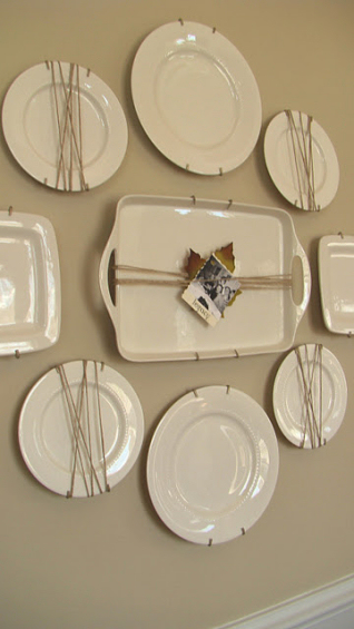 How To Arrange A Decorative Plate Wall   20 Beautiful Plate Walls plate wall with plates wrapped in jute twine