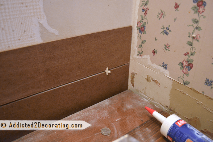 Bathroom Makeover Day 7 Faux Wood Plank Walls Part 1