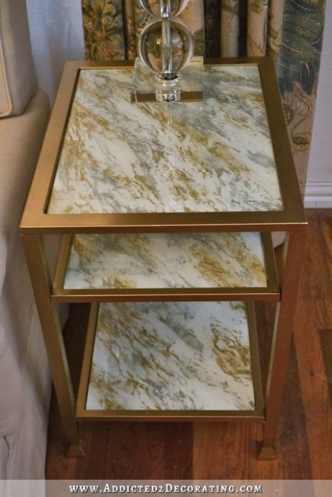 DIY Marbleized Back Painted Glass End Table Addicted 2