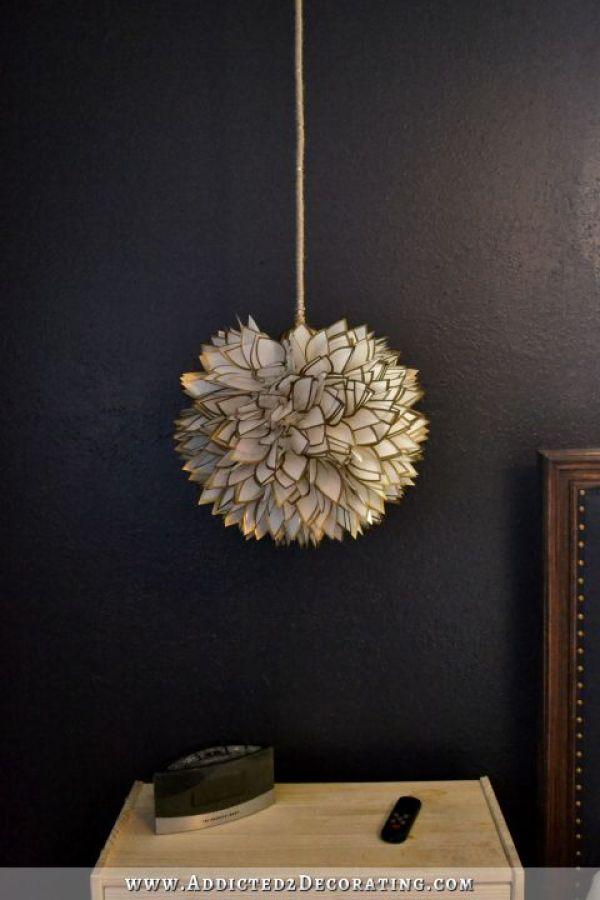 faux capiz shell flower pendant light - 2