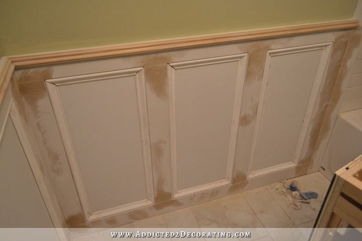 Recessed Panel Wainscoting With Tile Accent     Part 1 bathroom walls   recessed panel wainscoting with tile accent   9
