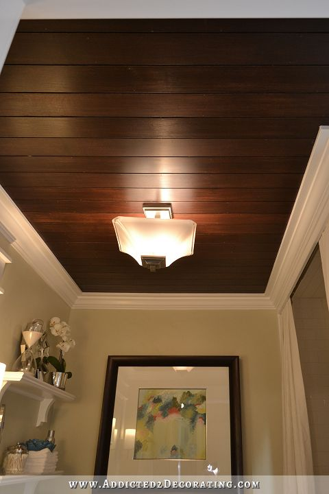 Stained Plywood Slat Ceiling - my favorite of all the ceiling decorations I've ever done.