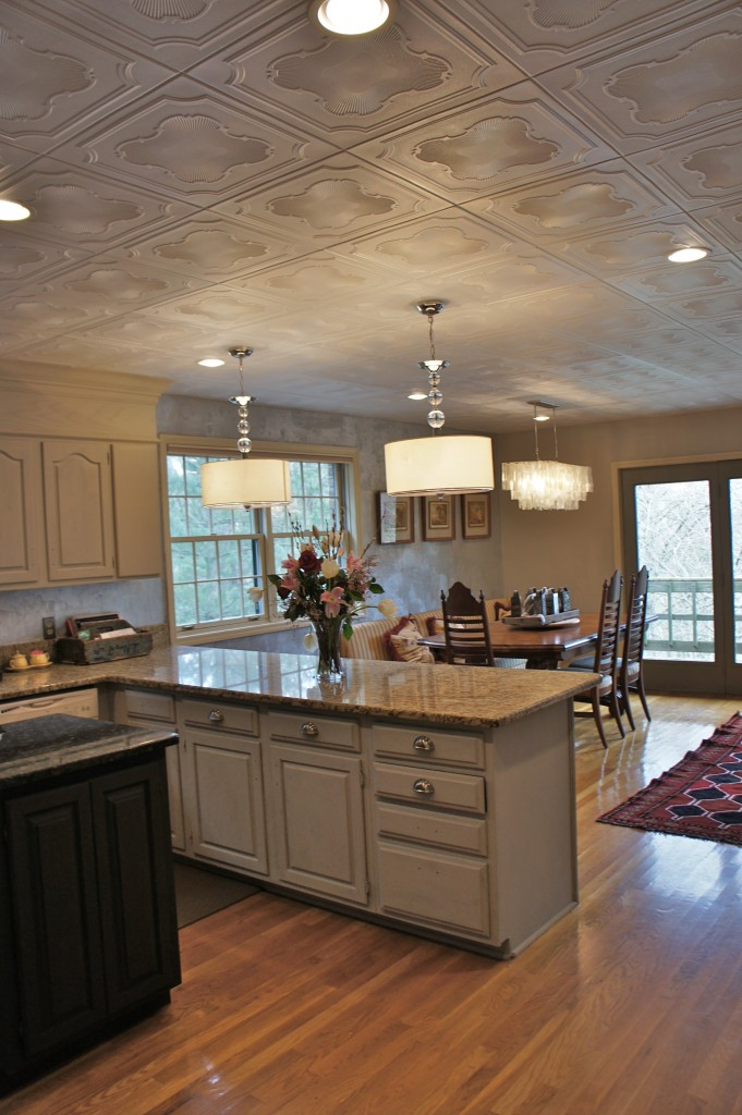 ceiling decorating ideas - ceiling tiles on kitchen ceiling, from Bella Tucker Decorative Finishes