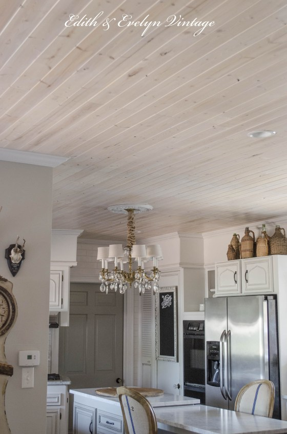 ceiling decorating ideas - planked ceiling with white pickling finish from Edith & Evelyn Vintage