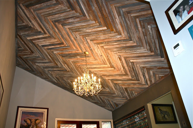 ceiling decorating ideas - reclaimed wood herringbone design on ceiling, via Make Me Pretty Again blog