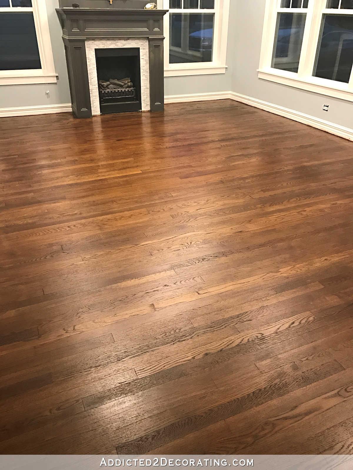 refinishing red oak hardwood floors adding stain to