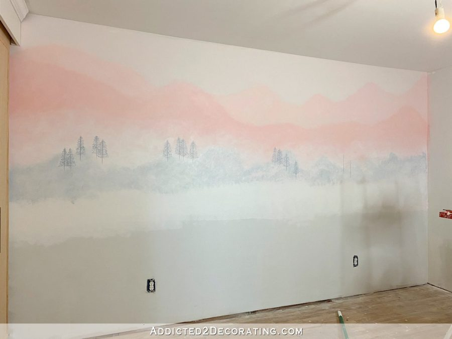 mural 1 - pink mountains with trees