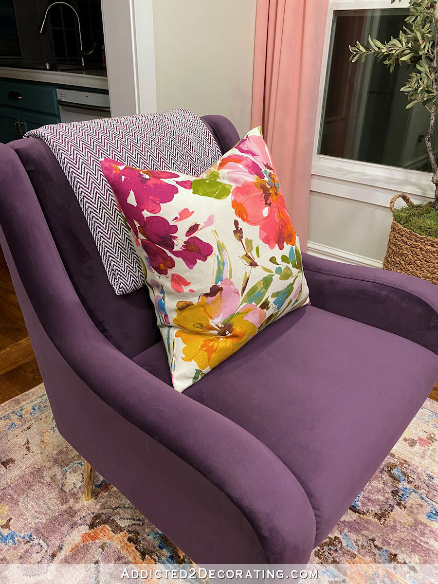 living room progress floral pillows