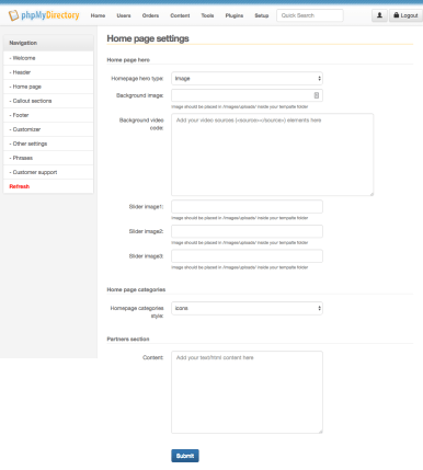 Listimia Options: Homepage settings