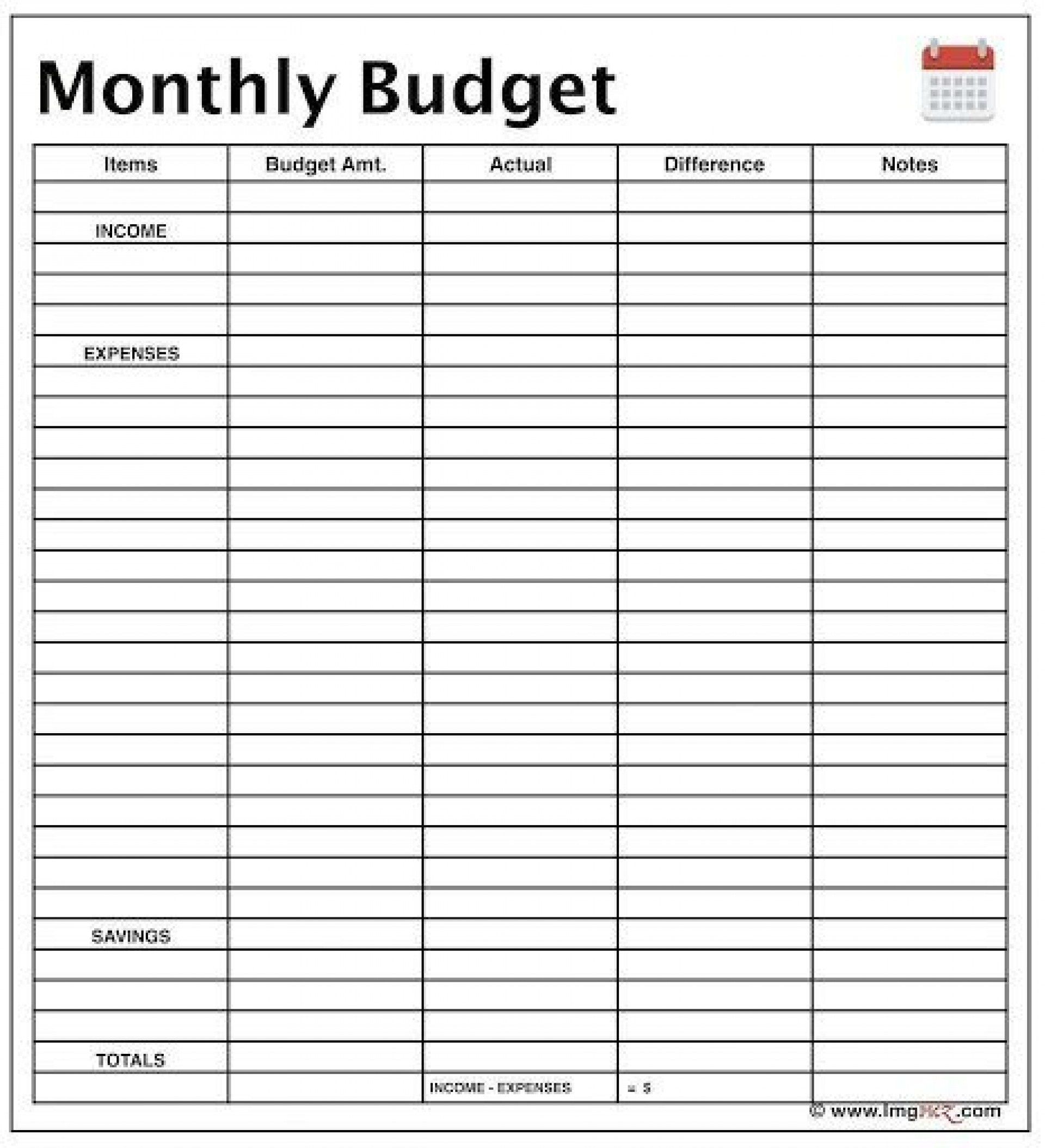 Printable Monthly Budget Form Addictionary