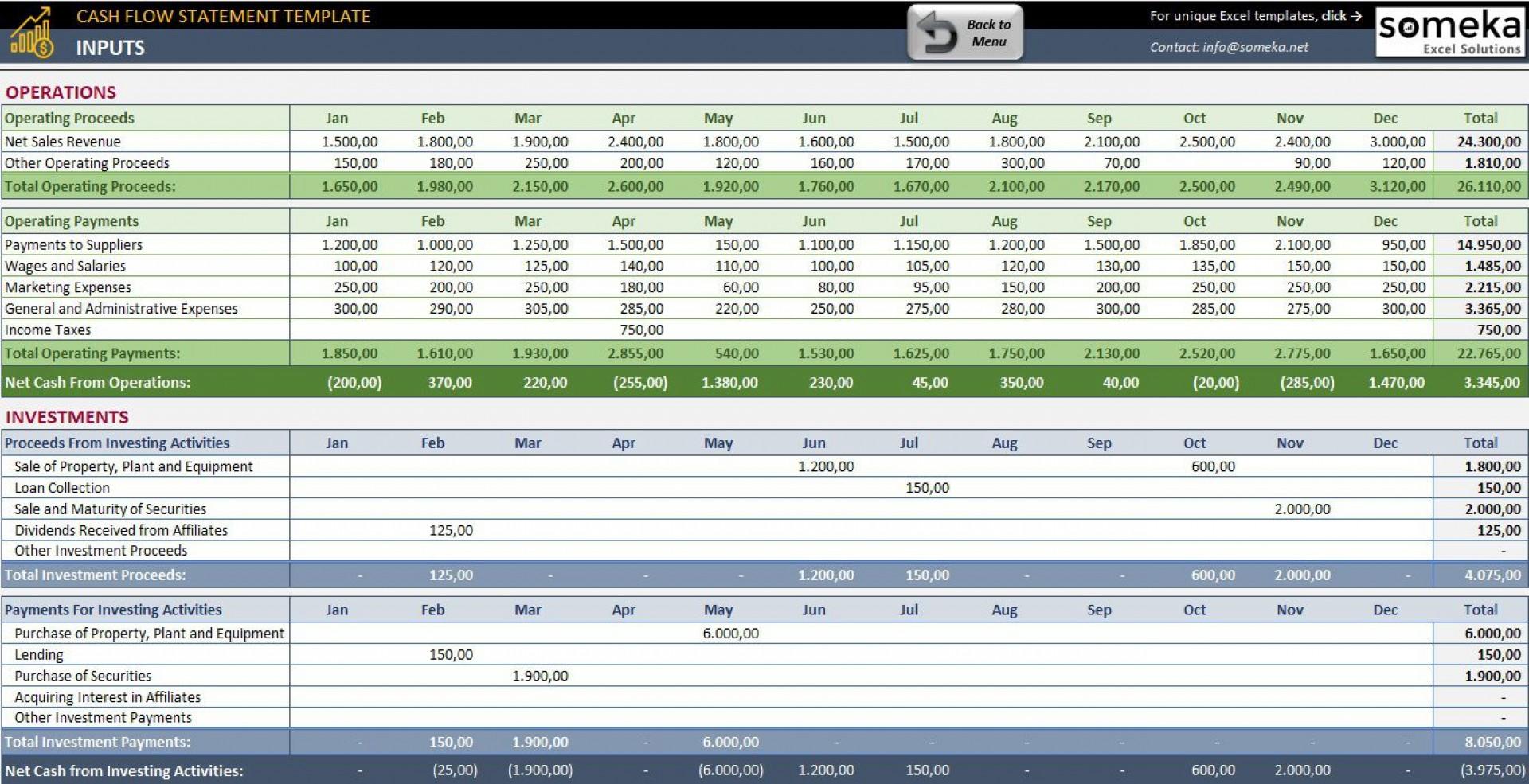 Simple Cash Flow Statement Template Addictionary