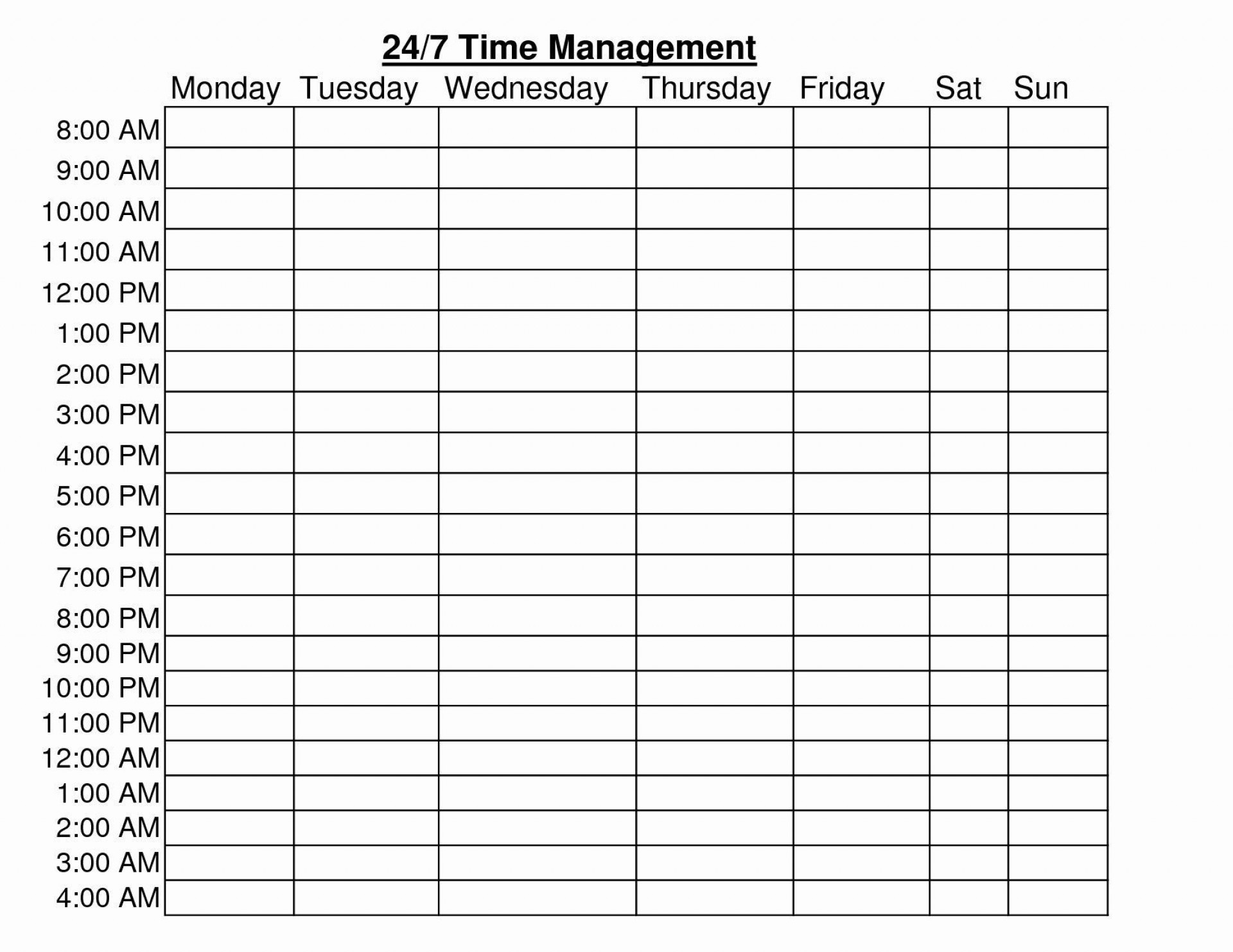 24 Hour Planner Template Addictionary