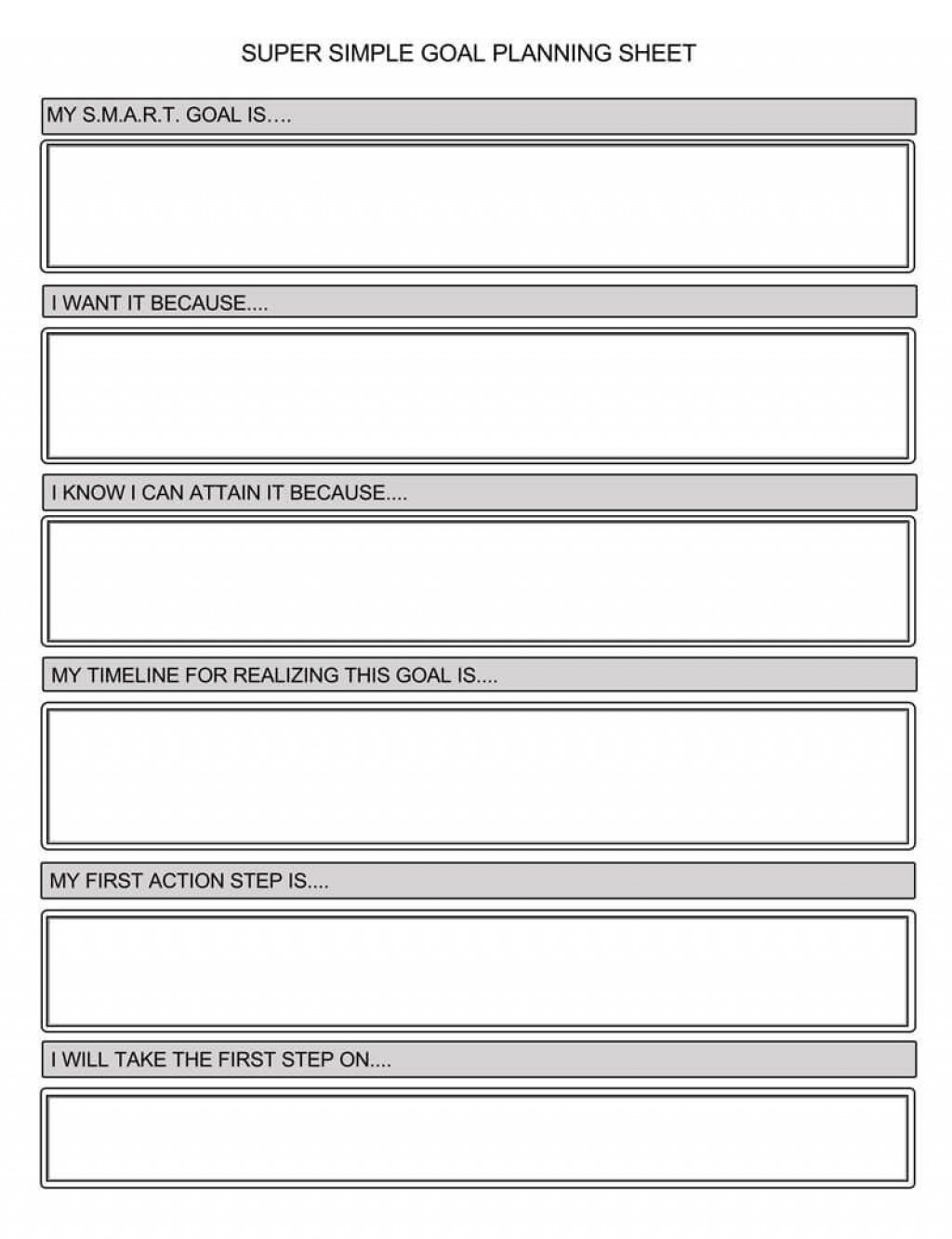 Goal Setting Worksheet Template Addictionary