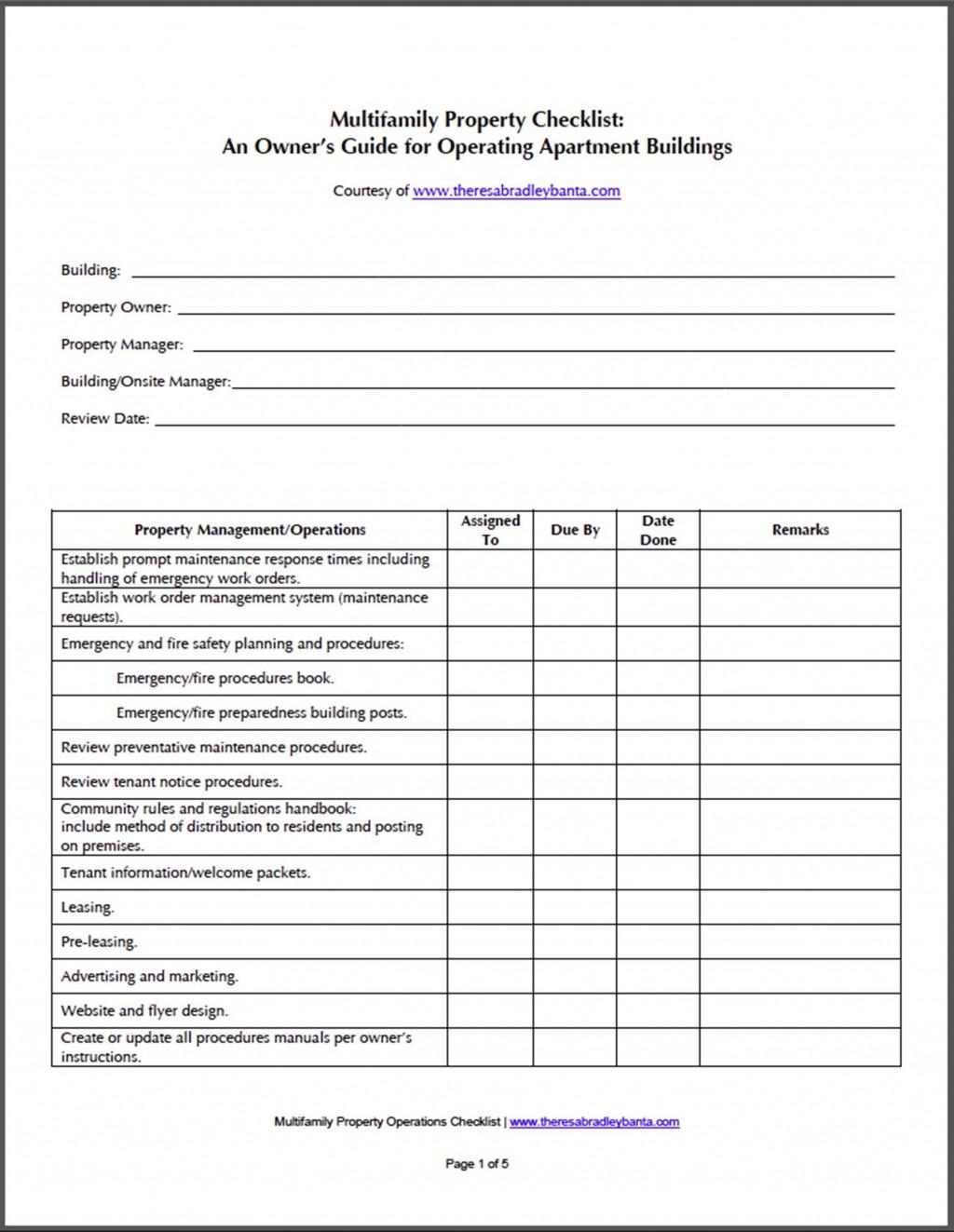Apartment Maintenance Checklist Template Addictionary