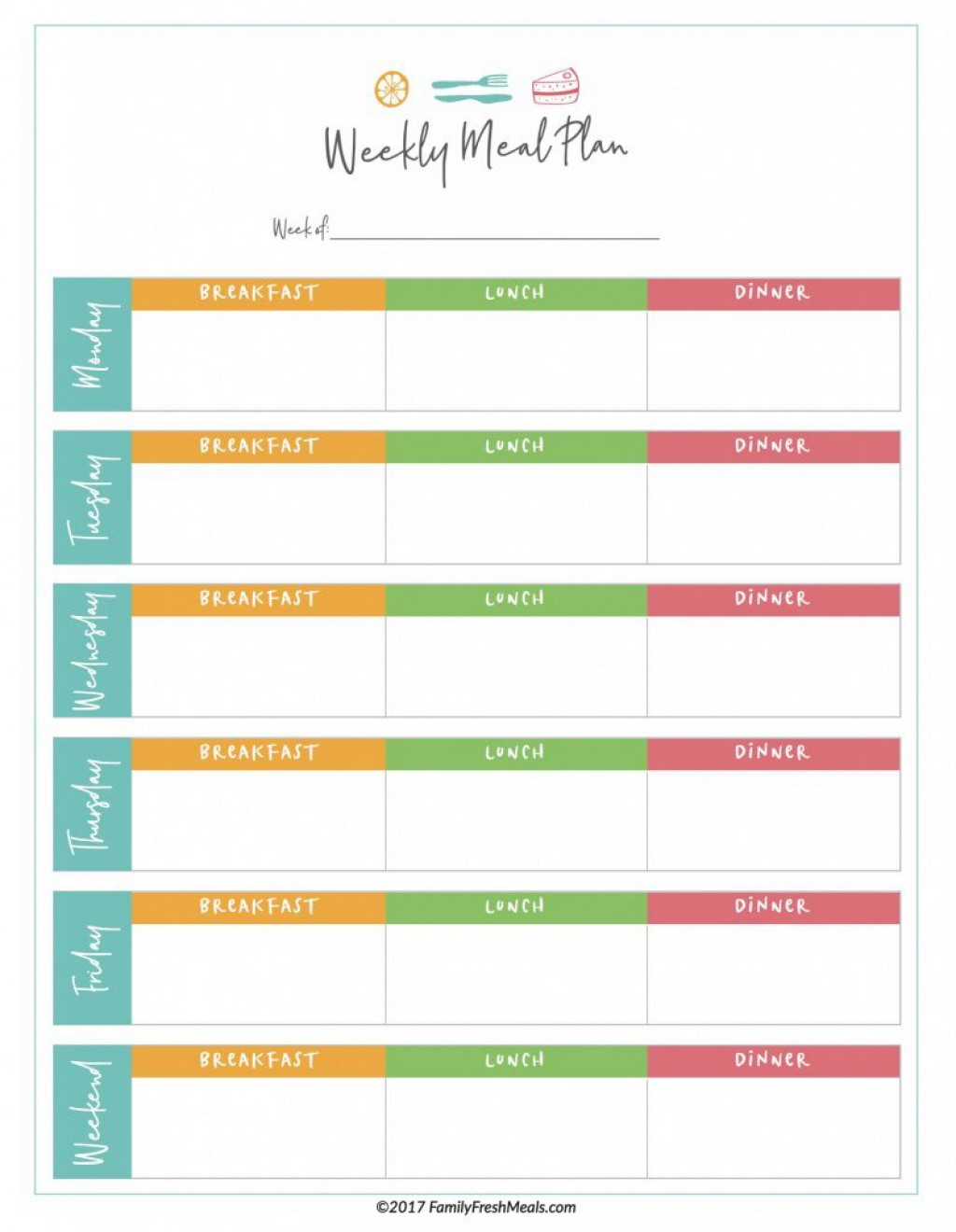 Meal Plan Template Addictionary